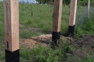 2 juni - eerste palen geplaatst voor het hek van de boomgaard.